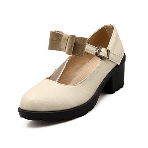 Balamasa Ladies Tacco Grosso Con Fibbia Platform Urethane Pumps-shoes Beige