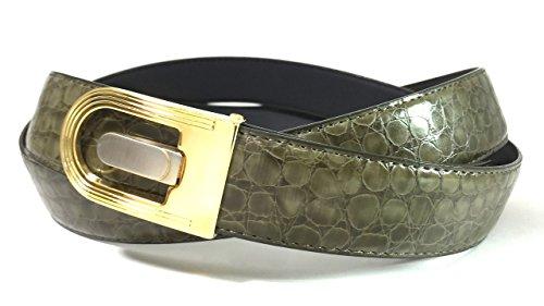 EDNA Bonded Leather Turtle Skin Print Dress Belt Olive Green