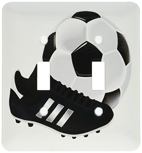 3dRose lsp_174007_2 Image of Soccer Ball and Shoe Art Light Switch Cover by 3dRose
