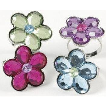 FLOWER JEWEL RING DOZEN BULK