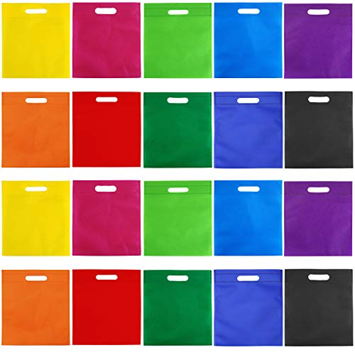 Goody Bags 50 Piece - Aneco 50 Pieces 9.5 by 11.5 Inches Non-Woven Bags Poly Goodie Treat Bag Rainbow Colors Tote Bag Party Gift Handles Bag Party Favors, 10 Colors