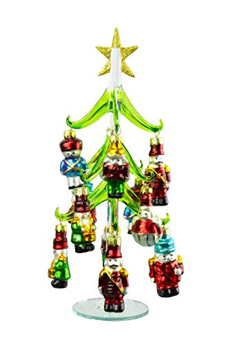 Red Carpet Small Glass Christmas Tree & Assorted Nutcracker Ornaments 13 Piece Set
