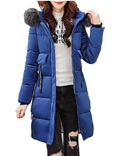 EKU Womens Hood Thick Down Jackets Warm Long Coat Denim Blue