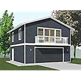 Garage plans craftsman style one car two story garage for 2 story garage plans with loft