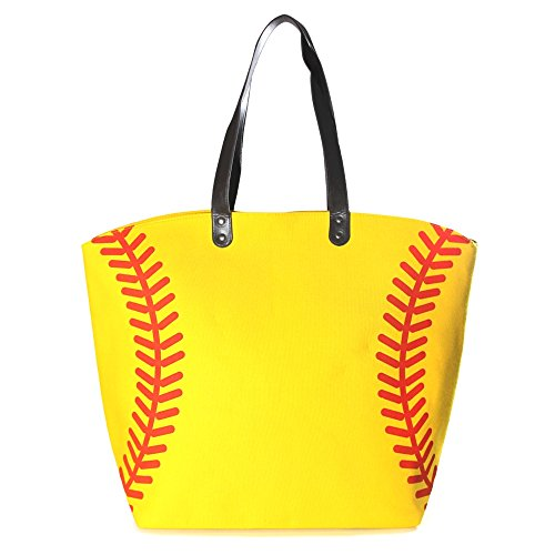 Sports Purse - Me Plus Sports Baseball-Softball Design Tote Hand Bags / Fashion Shoulder Bags / X-Large 21 IN. (Softball)