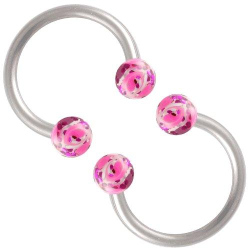 horseshoe eyebrow ring lip septum jewelry 16g 3/8 2pcs handpainted acrylic ball ear gauge Piercing BECU Set E03 Purple+Pink