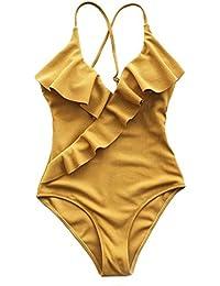 Women's Happy Ending Solid One-Piece Swimsuit Beach Swimwear Bathing Suit