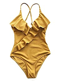 CUPSHE Women's Enjoy It Solid Color Falbala Ruffled One Shoulder One-Piece Swimsuit