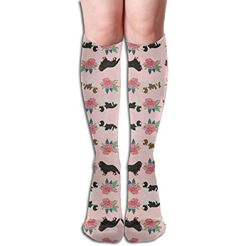 Cavalier King Charles Spaniel Pink Florals Floral DogKnee Compression Socks for Best Graduated Athletic Fit for Running, Nurses, Flight Travel & Maternity Pregnancy Recovery