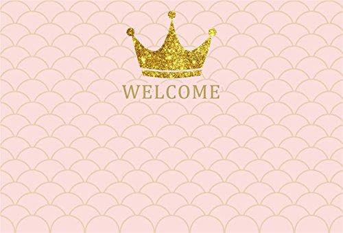CSFOTO 8x6ft Background for Sweet Baby Shower Little Princess Photography Backdrop Golden Crown Scales Wave Welcome Little One Pregnant Celebration Girl Infant Photo Studio Props Vinyl Wallpaper (Digital Album 8' Photo)