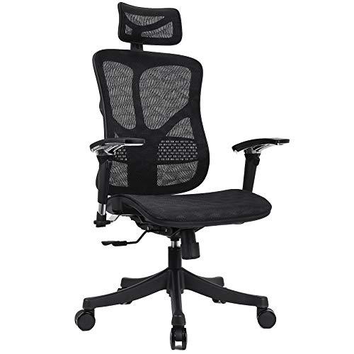 Argomax Ergonomic Mesh Office Chair High Back Swivel Desk Chair Adjustable Headrest Armrest Tilt Back and Tension