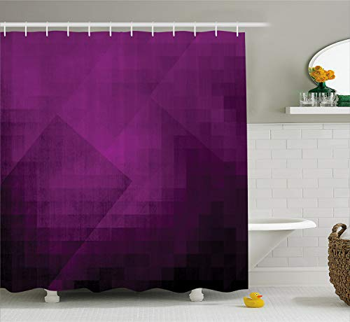 Ambesonne Eggplant Shower Curtain, Abstract Purple Squares in Faded Color Scheme with Modern Art Inspired Style Pixelart, Fabric Bathroom Decor Set with Hooks, 70 inches, Purple