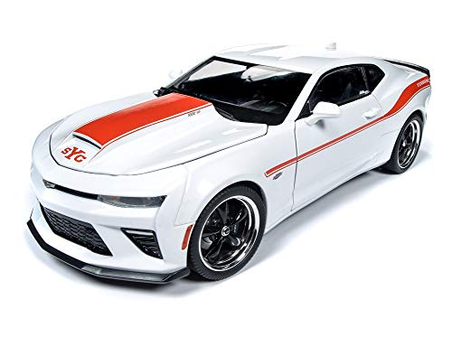 Stripes Limited Edition - 2018 Chevrolet Camaro Yenko/SC Stage II Coupe White with Orange Stripes Limited Edition to 300 Pieces Worldwide 1/18 Diecast Model Car by Autoworld AW255