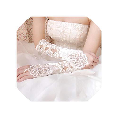Hot Sale White Ivory Fingerless Wedding Gloves Cheap 2019 Sheer Lace Beaded Bridal Gloves Women,Ivory
