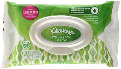 Kleenex Wet Wipes Sensitive Aloe & Vitamin E for Hands & Face, 20 Wipes