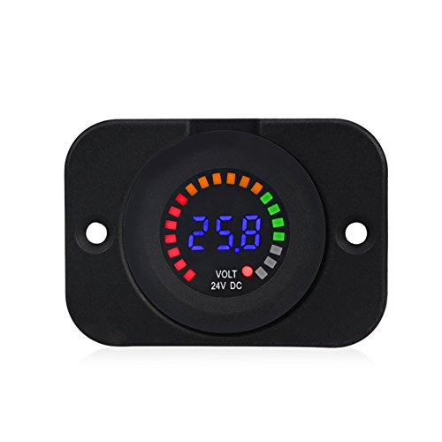 WATERWICH Waterproof 24V DC Voltmeter Color LED Digital Display With Flat Panel Volt Meter Voltage Meter Scale Gauge Battery Tester for Marine Car Motorcycle Truck Boat RV