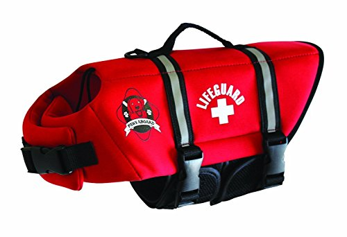 Paws Aboard XXS Neoprene Designer Doggy Life Jacket, Red Lifeguard