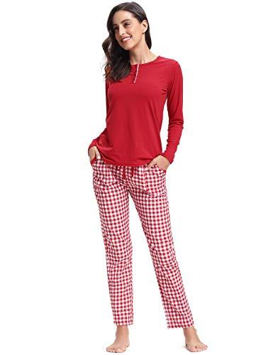 Maniche Da Lunghe A rosso Lungo Cotone In Set Pezzi Due Camicia Con Notte Donna Abollria Pigiama P6vIq1x