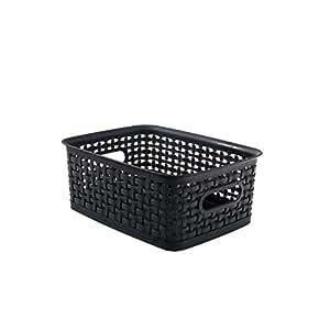 """ADVANTUS Small Plastic Weave Bins, 10"""" x 7.25"""" x 4"""", 3 Pack, Black (40326)"""