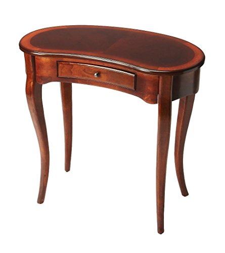 Offex Traditional Crafted Kidney Writing Desk - Dark Brown