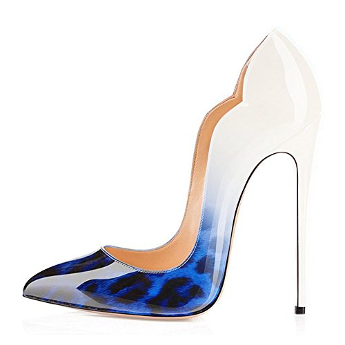 Toe High Stiletto Pumps Women White UMEXI Patent Leather for Side to V Leoaprd Pointed Heels Party Wedding cut Shoes Blue qvvYPw