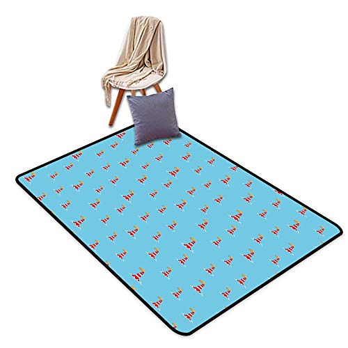 (Room Bedroom Floor Rug Lighthouse Nautical Architectural Elements Sea Buoys Pattern Wavy Lines Ocean Inspired W59 xL71 Suitable for Restaurants,Family)