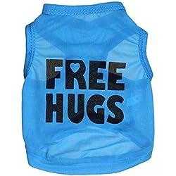 "Pet Dog Vest T-Shirt, Breathable Summer Spring Clothes Polyester Ultra-Thin Vest for Pet Costume Apparel (L(BACK34CM/13.38"" BUST48CM/18.89"" NECK32CM/12.59""), Blue)"