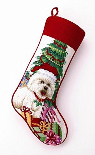 Bichon Frise Needlepoint Dog Christmas Stocking, Wool, 11 Inch X 18 Inch by PHI