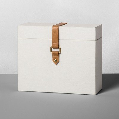 Document Box with Faux Leather - Natural Canvas - Hearth & Hand153; with Magnolia Natural Canvas