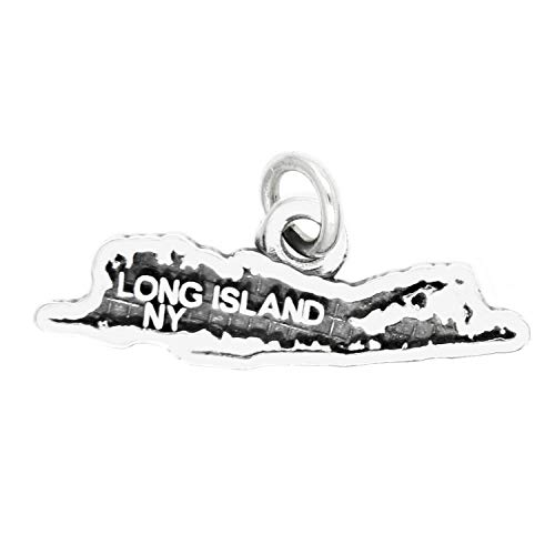 Sterling Silver Map of Long Island NY Travel Charm - Jewelry Making Pendant Bracelet