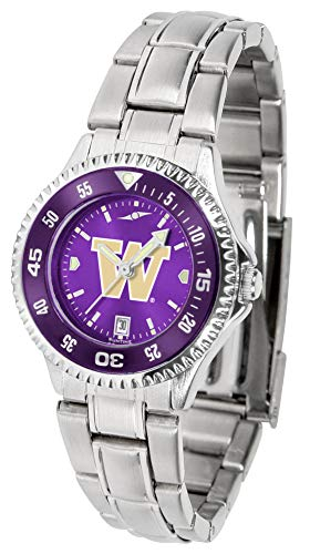 Washington Huskies - Competitor Ladies' Steel AnoChrome - Color Bezel