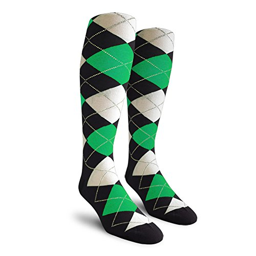Argyle Golf Socks: Over-the-Calf - Black/Lime/White - Mens