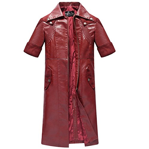 NSOKing Devil May Cry 4 Dante Trench Leather Jacket Coat Cosplay Costume (XXX-Large, -