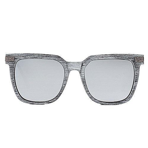 retro del los libre aire Protección de gafas Gafas PC polarizadas al conduce marco sol de de hombres de color las para la Retro Plata sol estilo ci que completa de madera de ULTRAVIOLETA un que la del pesca qYw8qf