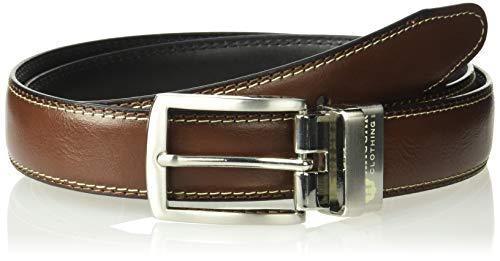 (Haggar Men's Dress Casual Vegan Leather Belt, Brown/Black/Double Stitch, 34)