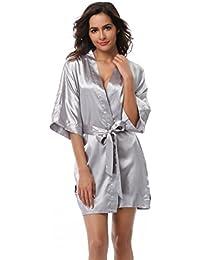 Women's Kimono Robe Solid Color Short Silk Bathrobe with...