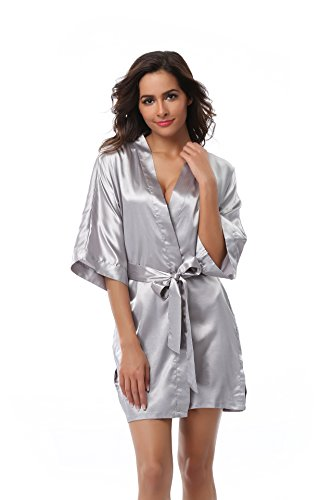 VogueBridal Women's Solid Color Short Kimono Robe, Silver (Short Satin Robe)