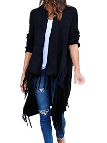 Irregular Black Largo Color Bonitas Mujer Manga Coat Abrigos Tops Hipster Con Elegantes SÓLido Larga Abrigos Tayaho Borla Outwear Cardigan wqYBRgUxn