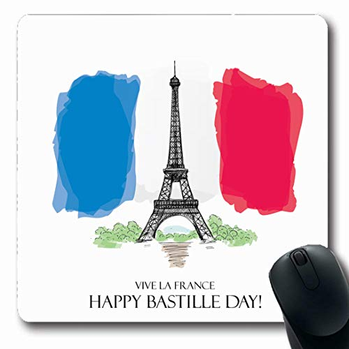 Ahawoso Mousepads for Computers Tour Watercolor Eiffel 14 July Happy Bastille Day Holidays Tower 14Th Celebrate City Oblong Shape 7.9 x 9.5 Inches Non-Slip Oblong Gaming Mouse Pad