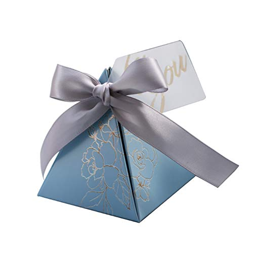 Triangular Pyramid Candy Box Wedding Favors and Gifts Boxes Candy Bags for Guests Wedding Decoration Baby Shower Party Supplies,Sky Blue,100 Pcs]()