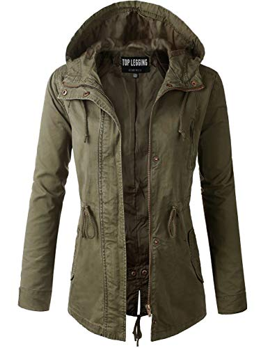 TOP LEGGING TL Women's Utility Militray Anorak Drawtring Parka Hoodie Jackets with Pocket_Olive 2XL