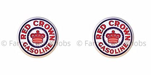 SET OF 2 KNOBS - Red Crown Gasoline - Vintage Gas Station Signs - DECORATIVE Glossy CERAMIC Cupboard Cabinet PULLS Dresser Drawer KNOBS]()