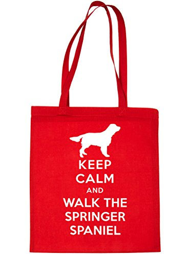 Bag Calm Red Walk Spaniel Springer and Dog Shopping The Keep Tote Print4u BIwHEfxw