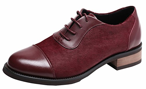 Girls Pieced Cowhide Leather Upper, Lace Up Comfort Oxford Loafers, Dyed Hony Hair Fasion Burgundy6