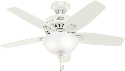 Hunter Fan Company Hunter 51086 Newsome Ceiling Fan with Light, 42 Small, Fresh White