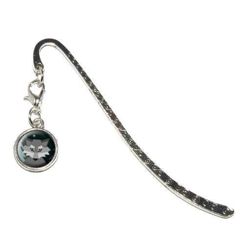 Geometric Wolf Winter Metal Bookmark Page Marker with Charm