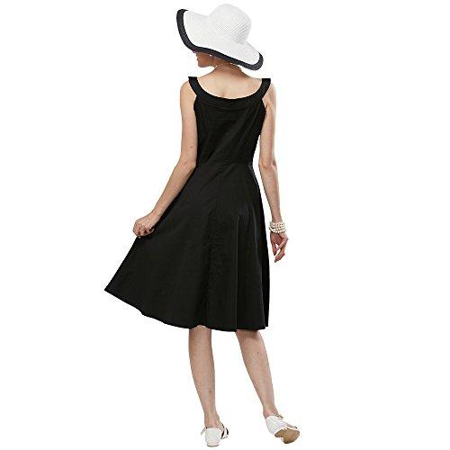 ZAFUL Robe Vintage Année 50 Robe Rétro Rockabilly Swing Audrey Hepburn Robe de Cocktail/Soirée Sans Manches Robe Noir Florale