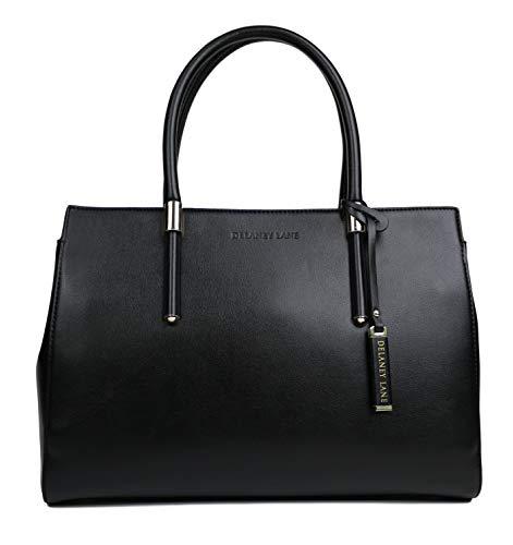 Stylish Designer Handbags - DELANEY LANE Handbag for Women, The Bella, Quality Designer Top Handle Tote Bag (Black)
