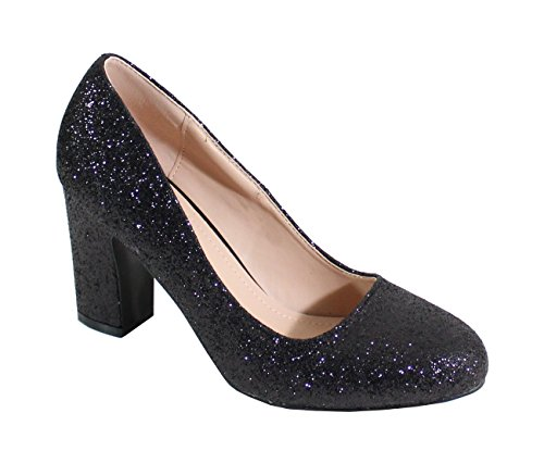 Pailleté Noir De Style Femme Chaussure By Shoes Soirée wEqpf0X