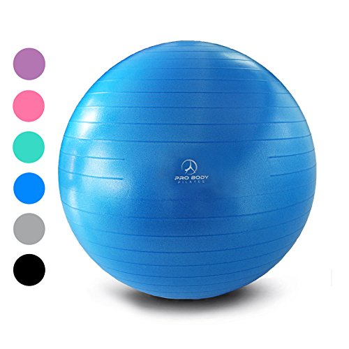 Exercise Ball - Professional Grade Anti-Burst Fitness, Balance Ball for Pilates, Yoga, Birthing, Stability Gym Workout Training and Physical Therapy (Blue (No Pump), 55 cm)